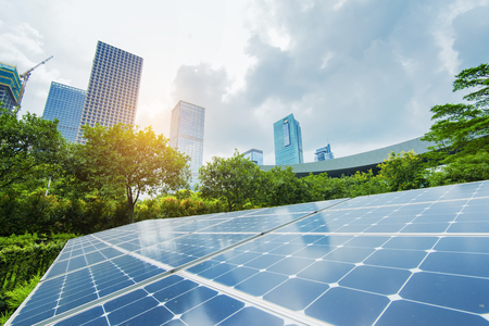 economia: Solar Panels In The Park Of Modern City Editorial