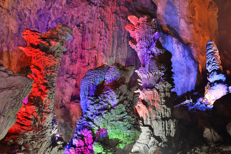 stalagmites: Guilin Reed Flute Cave