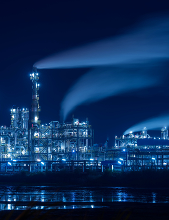 industrial industry: Refinery industrial plant with Industry boiler at night Editorial