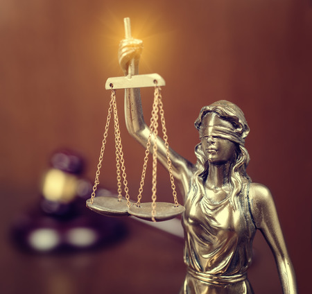 judicature: Statue of justice and Wooden gavel, law concept