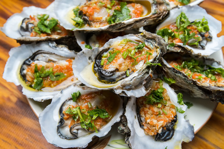 Oysters in a plate Stock Photo