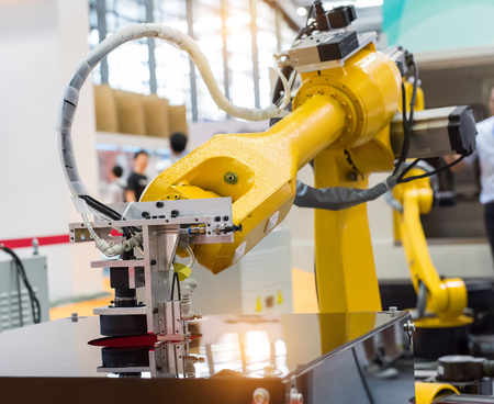 Robotic machine vision system in phone factory Stock Photo