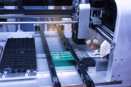 brazing: PCB Processing on CNC machine,Production of electronic components at high-tech factory