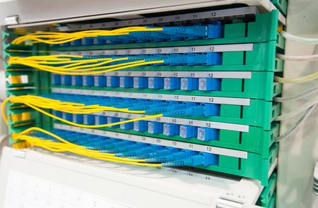isp: Technology center with fiber optic equipment Stock Photo