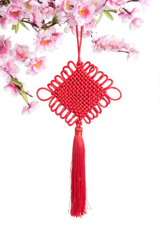 knot: Traditional chinese knot with peach flower Stock Photo
