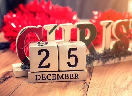 december 25: calendar set on the 25 of December on wooden background Stock Photo