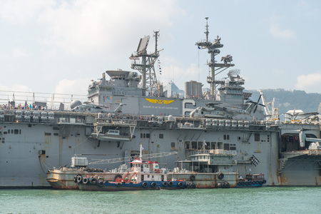 HONG KONG, CHINA - Sept 18:The U.S. amphibious assault ship USS Bonhomme Richard pulled in Hong Kong waters on Sept 18,2013 to get replenishment.Commissioned in 1998, the 40,500-ton vessel. Editorial