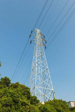 electric pillar over blue sky