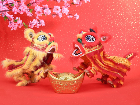 chinese traditional dancing lion for new year Stock Photo