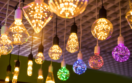 Decorative edison style diode light bulb hang from ceiling Stock Photo