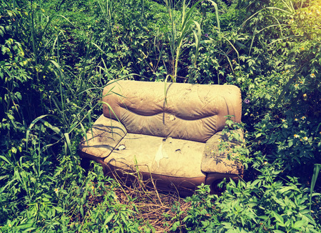 thoughtless: sofa abandoned in the grass Stock Photo