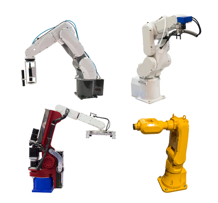 collection of robotic arms isolated on white,Smart factory industry concept.