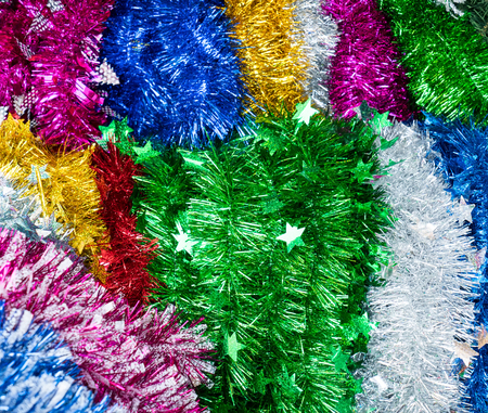 colorful tinsel christmas decoration abstract macro background stock photo 76428684 - Tinsel Christmas Decorations