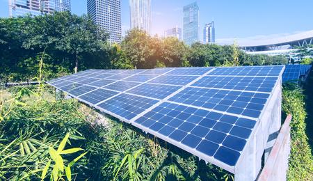 Solar Panels In The Park Of Modern City Reklamní fotografie