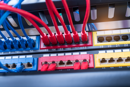 bandwidth: network cables connected to a switch