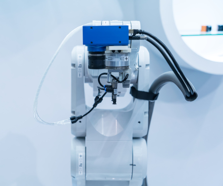 hitech: robotic hand machine tool at industrial manufacture factory
