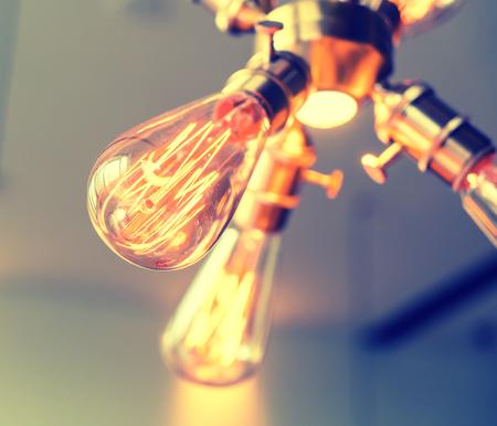 chandelier: Edison light bulb hanging on