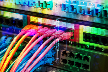 hubs: Ethernet cables and Network switching hub LAN System Communication