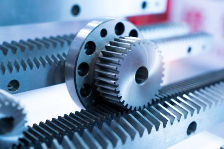 mechanism parts macro view,metal cog gears