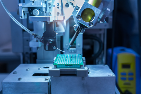 Close up view of a robotic welding machine Banque d'images
