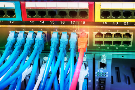 cable on network switches background