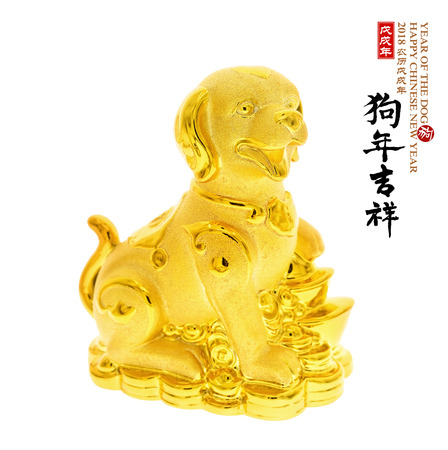 Chinese new year decoration of a golden dog statue Stock Photo