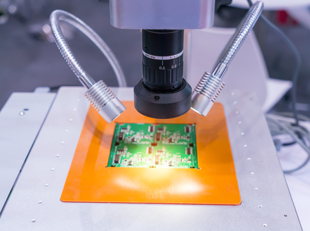 Robotic machine vision system in factory Stock Photo
