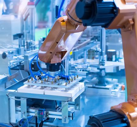 robotic pneumatic piston sucker unit on industrial machine,automation compressed air factory production Stockfoto