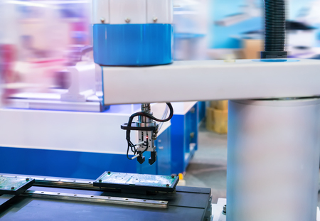 robotic machine tool in industrial manufacture plant,Smart factory industry concept.