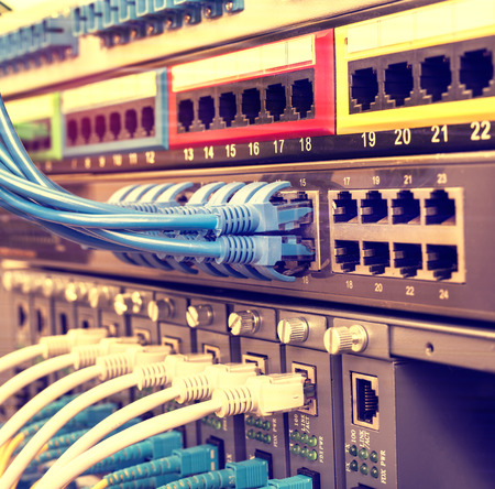 ethernet cable on network switches background