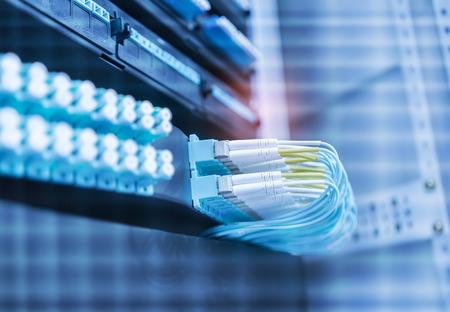 Fiber optic cablel connect to communication Distribution point Banco de Imagens