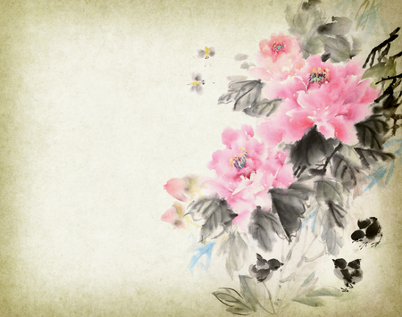 Chinese painting of peonies
