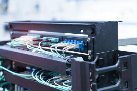Fiber optic cable connect to communication Distribution point Foto de archivo