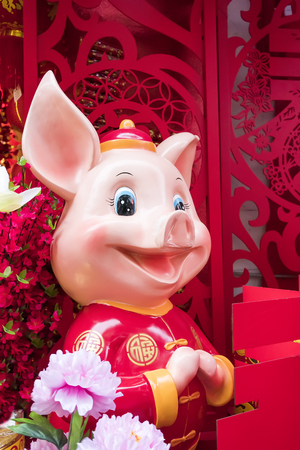 Chinese year of the pig celebration,word mean best wishes and good luck for the coming new year Фото со стока