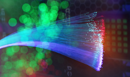 fiber optic showing data or internet communication concept
