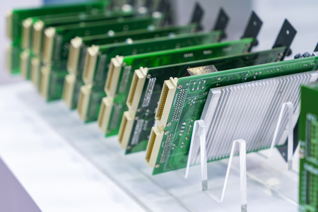 Boards are in a row. Factory for the production of chips