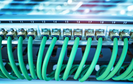 Network cable in switch and firewall in cloud computing data center server rack