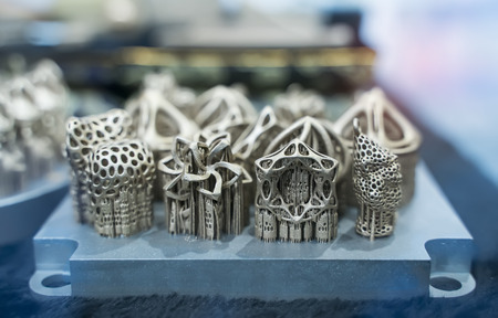 Object printed on metal 3d printer close-up. Stock Photo
