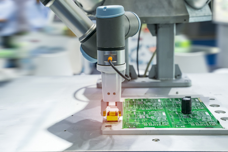 robotic machine tool in industrial manufacture factory,Smart factory industry 4.0 concept.