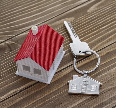 key chain with house symbol and key,Real estate concept