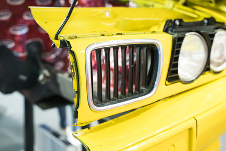 red Automotive Front End headlight of the car close up Archivio Fotografico