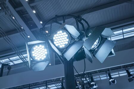 spotlight system in the metal frame of the exhibition hall.