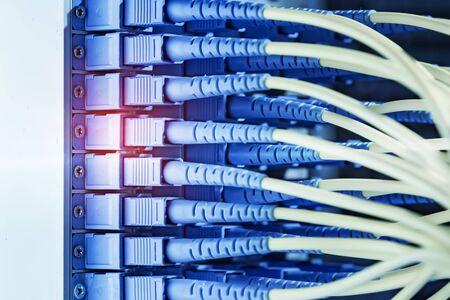 Fiber optic cablel connect to communication Distribution point Stock fotó