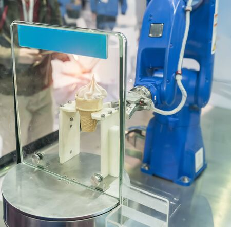 robot in Production of ice cream in a manufacture factory for the food industry