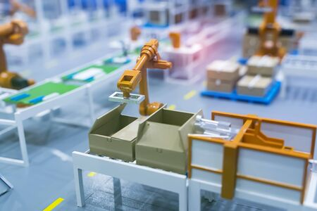 model of Robotic and Automation system control application on automate robot arm Stock Photo
