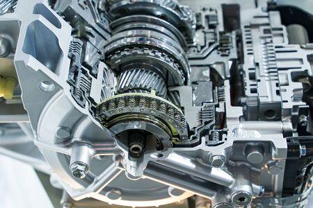 Metallic background of car automotive transmission gearbox Stock Photo
