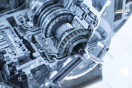 Metaliczne tło samochodowej skrzyni biegów samochodowej