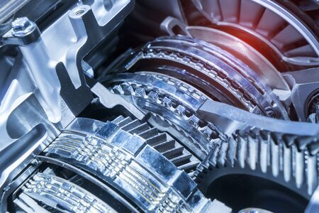 Metallic background of car suspension and gear