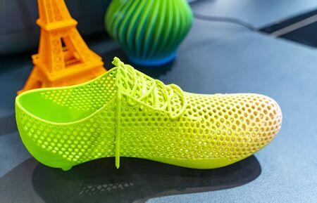 Gros plan de la figure de la chaussure imprimée en 3D