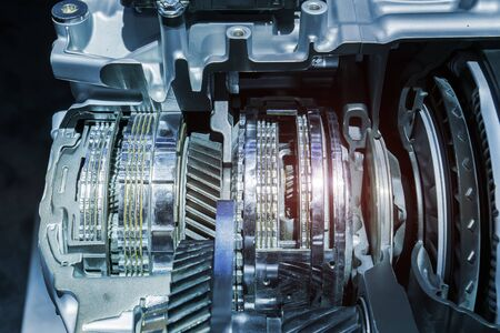 Metallischer Hintergrund des Auto-Automobil-Getriebegetriebes